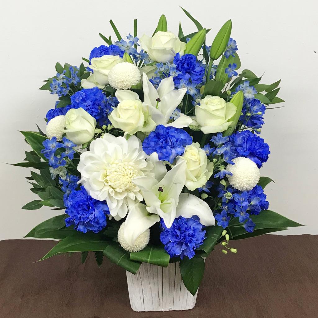 白と青のアレンジメント(M)