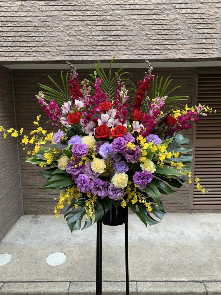 【春限定】カラフルMIX 黒パイプ1段 スタンド花(H180)