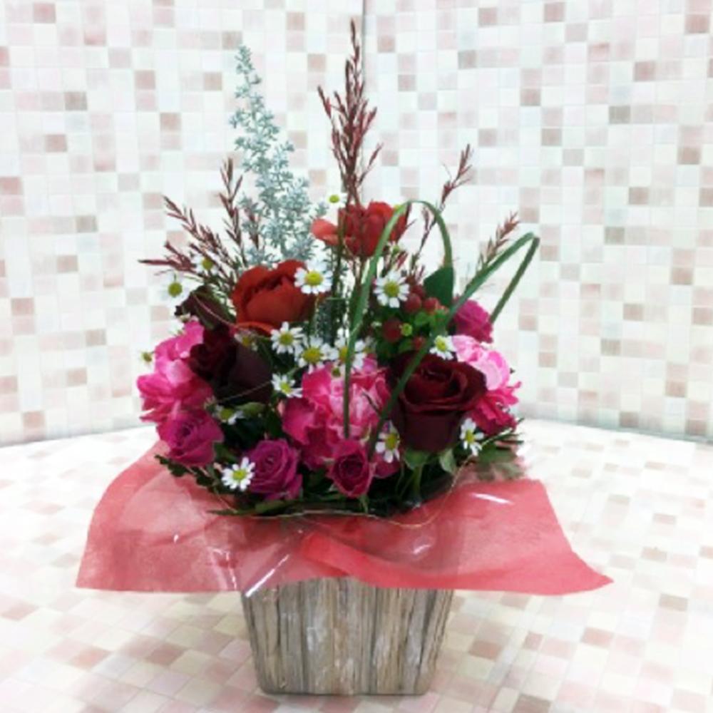 赤系 バラと小花のアレンジメント(H30)