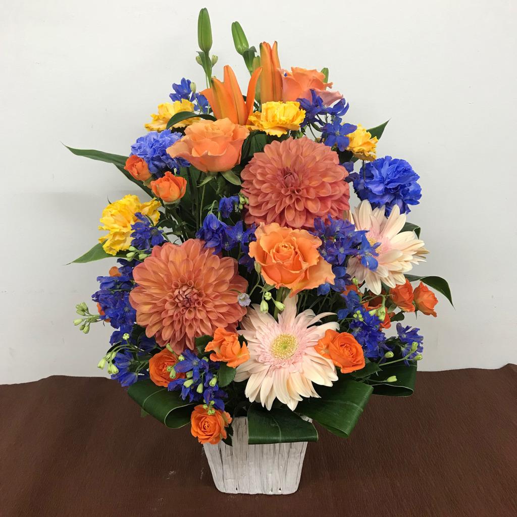 青とオレンジのアレンジメント(M)
