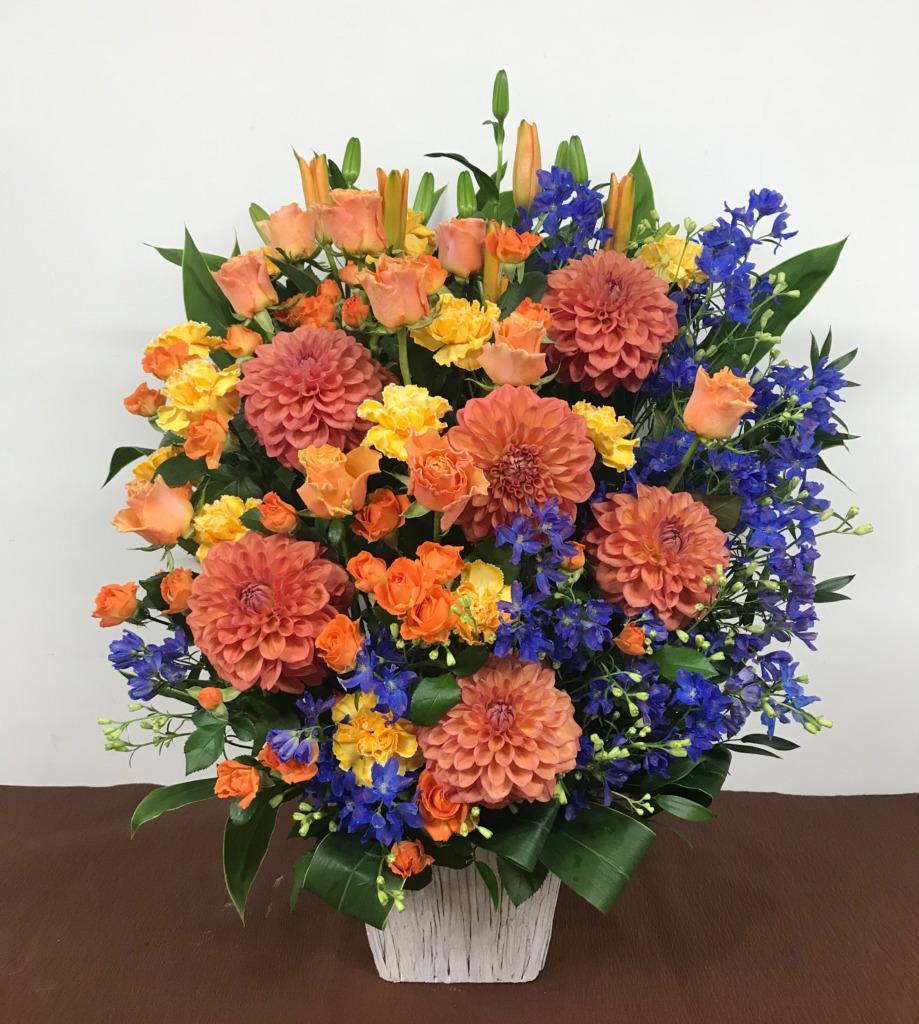 青とオレンジのアレンジメント(LL)