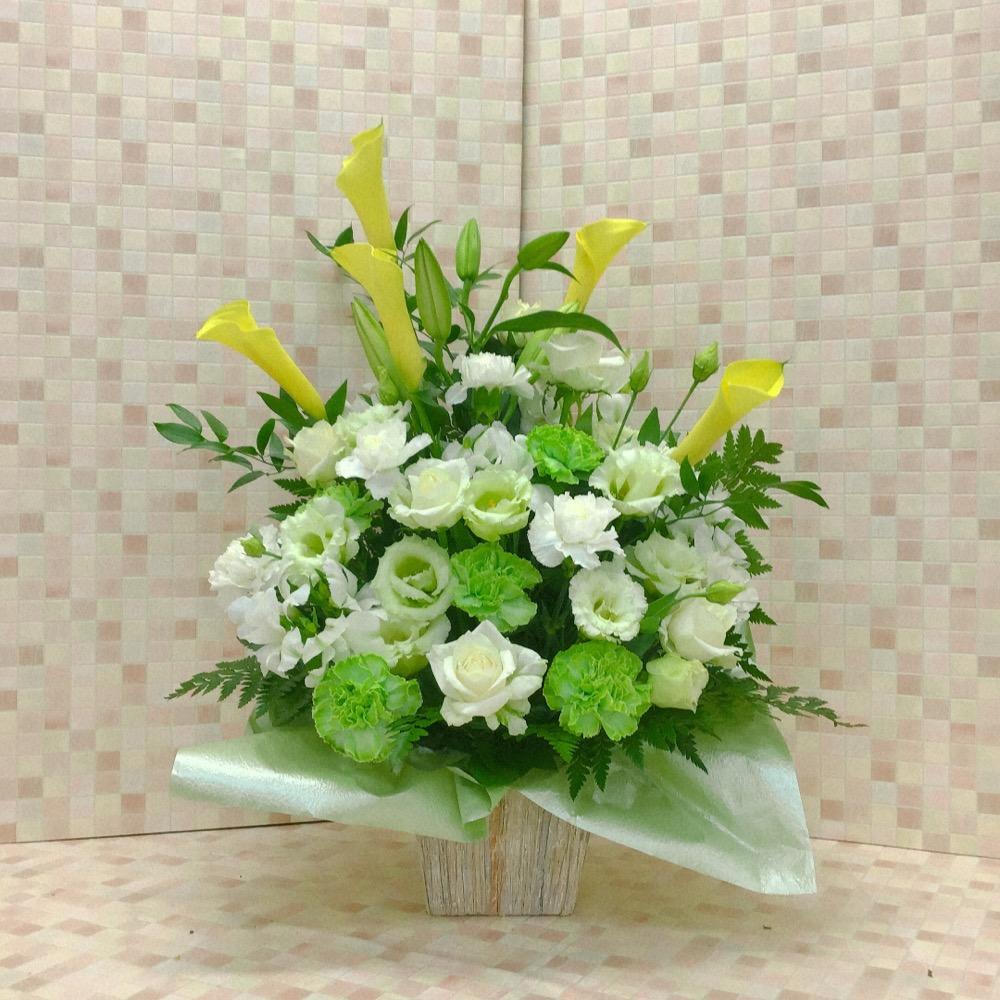 【供花】白カーネションと黄カラーのアレンジ(H60)