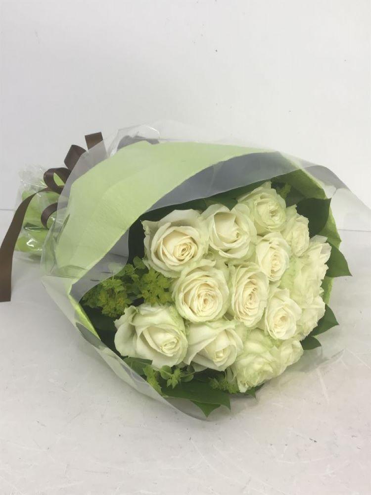 白バラの花束(ラウンドタイプ) Lサイズ (H60)