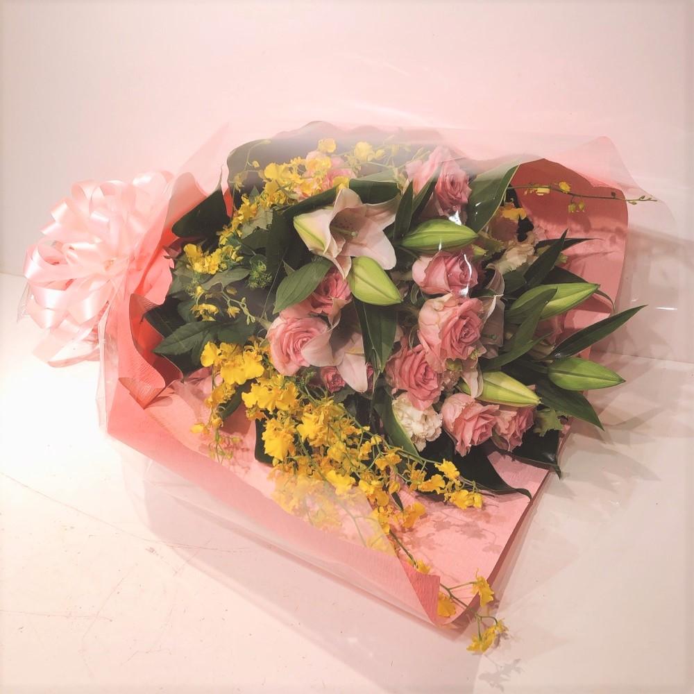 バラとユリ(ピンク)花束 (H60)