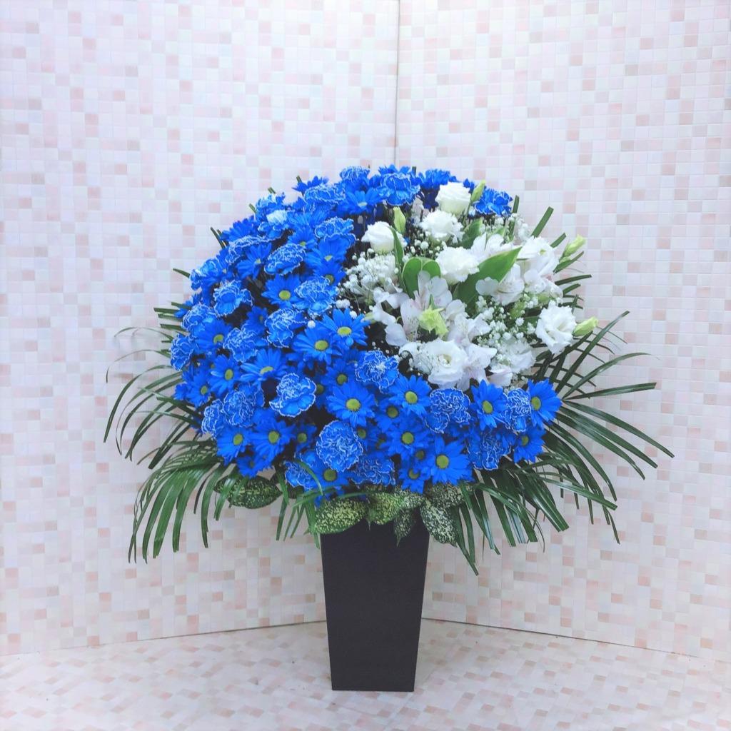 青い床置きムーンアレンジメント(H90)