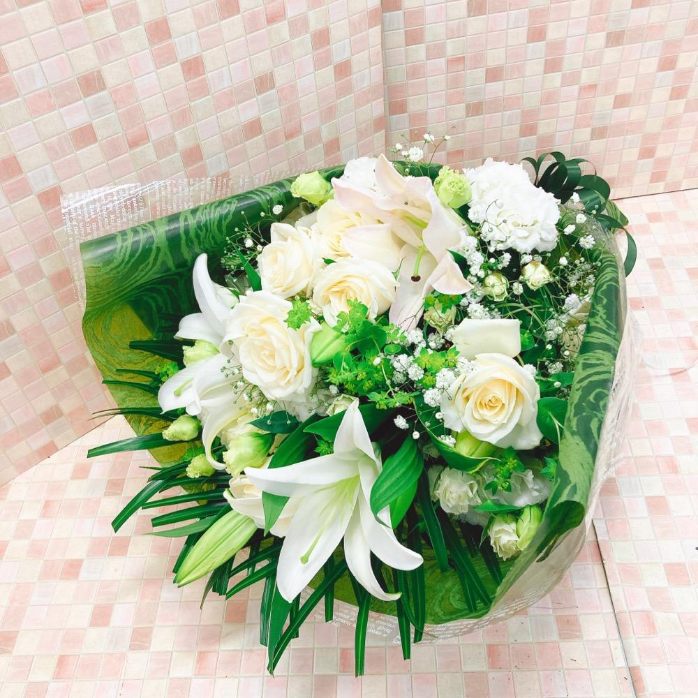 白と緑の花束L (H75)