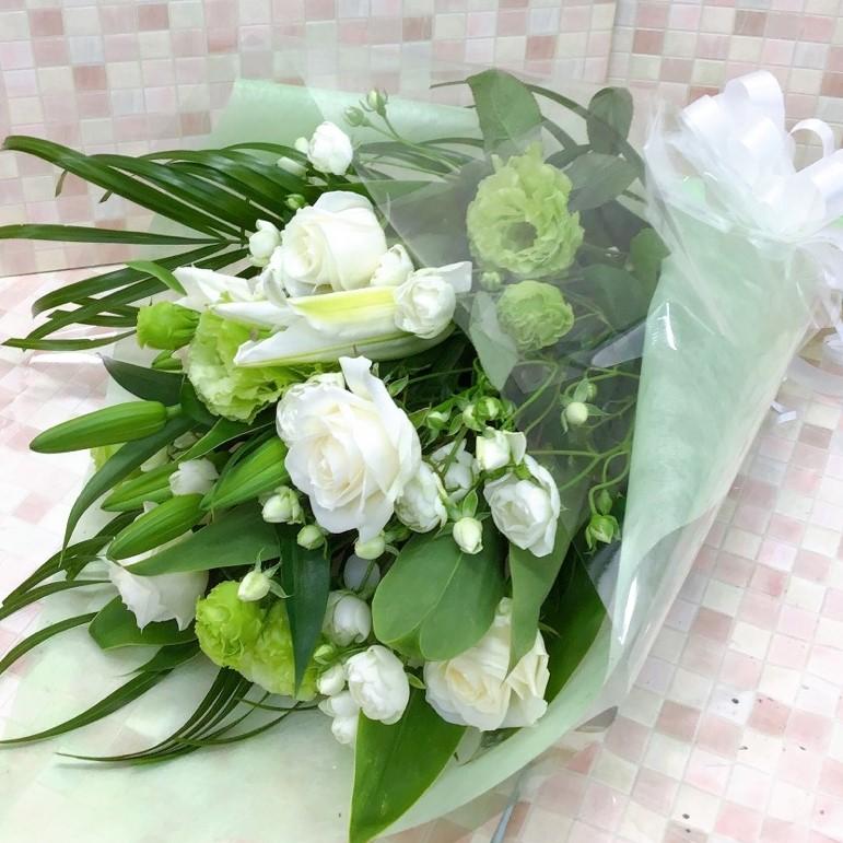 白と黄緑のツートーンブーケ (H60)