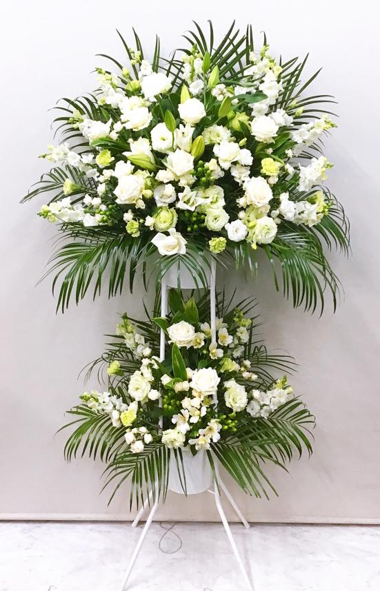 白バラ入り白グリーン白パイプスタンド2段(H190)