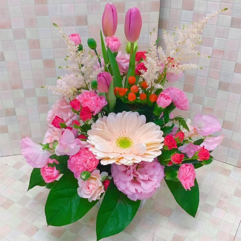 春の花ピンクアレンジメント(H30)