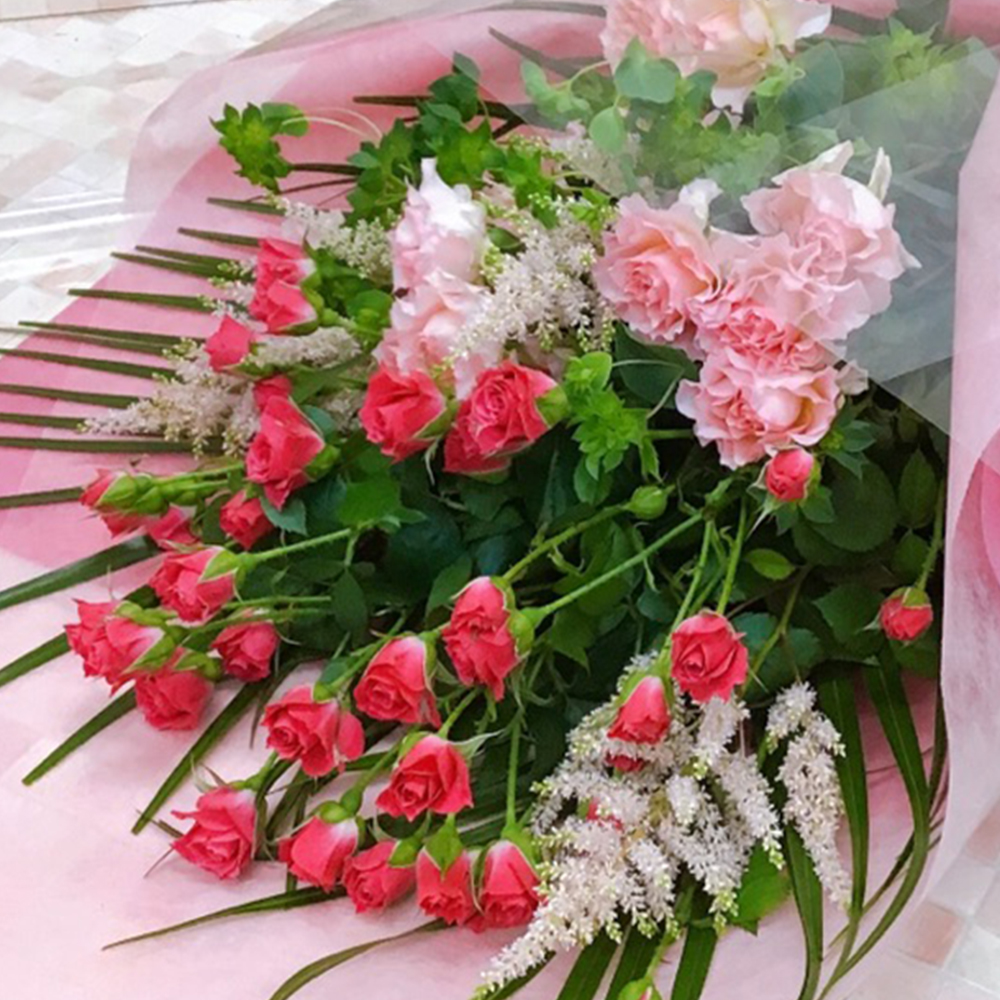 ピンクバラの花束(H50)