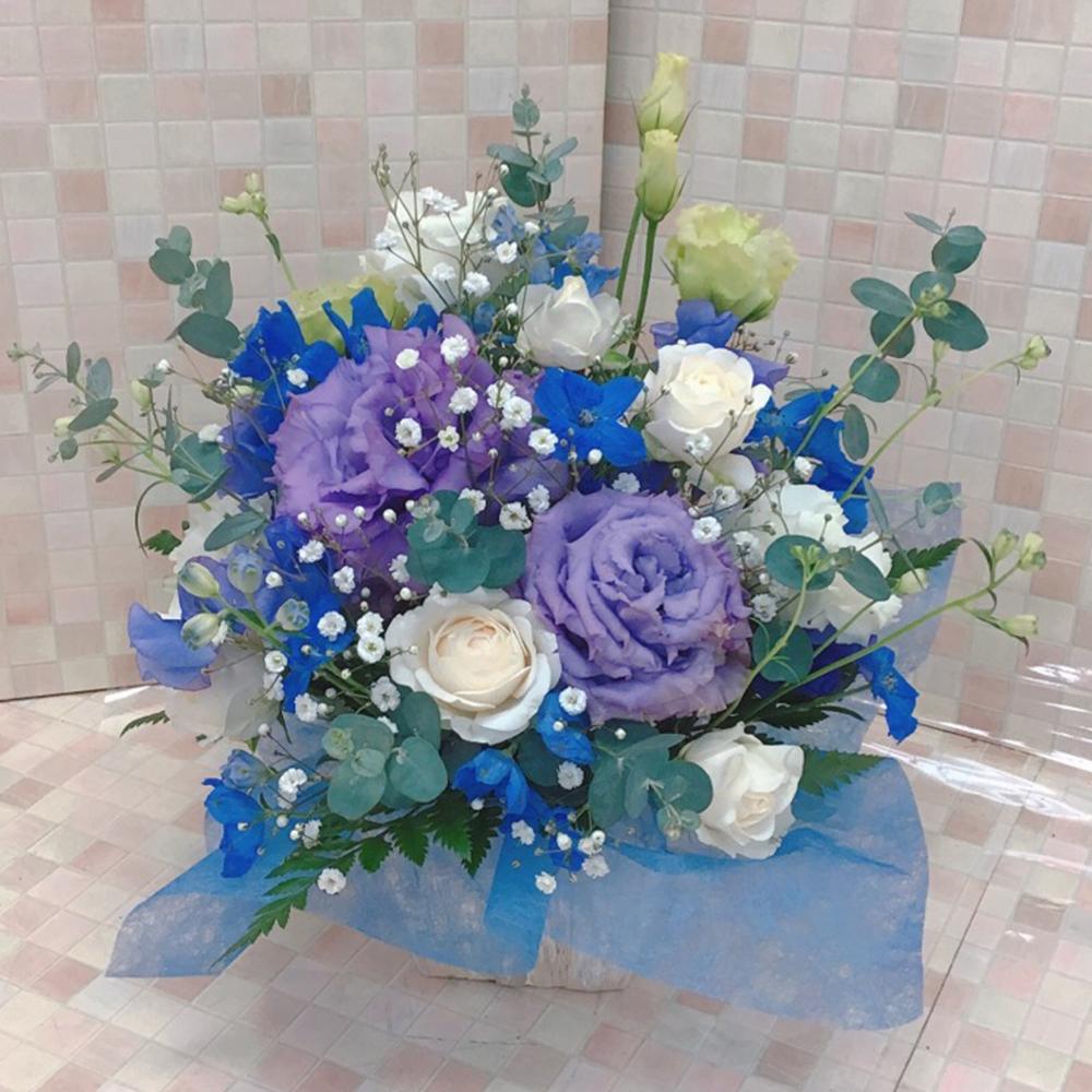 【お悔やみ】青と紫のペットのお供えアレンジ(H25)