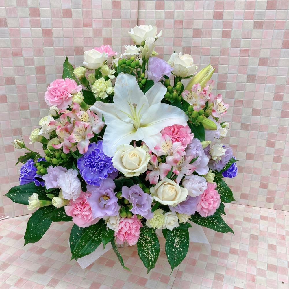 【供花】白ユリピンク紫アレンジメント(H50)