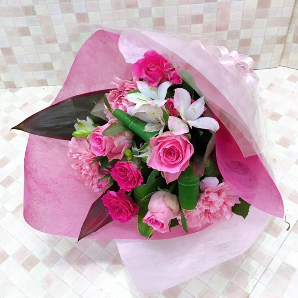 ふんわりピンクの花束(H40)