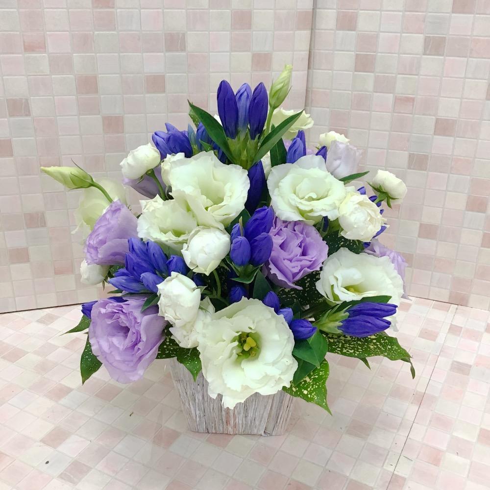 【供花】白と紫のりんどうアレンジメント(H30)